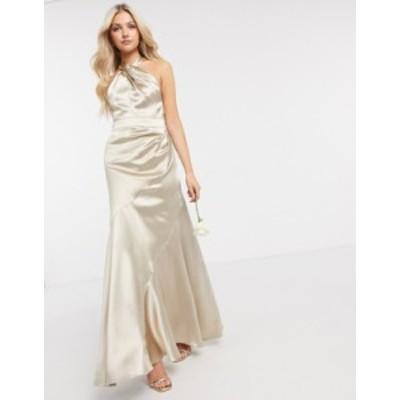 エイソス レディース ワンピース トップス ASOS DESIGN Bridesmaid satin halter maxi dress with paneled skirt and keyhole detail Oys