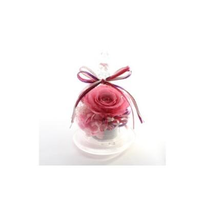 プリザーブドフラワー・Roseグラスドーム(ピンク)