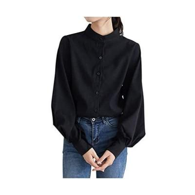 [ネコート] ブラウス シャツ ゆったり ボリューム袖 長袖 ハイネック ボタン きれいめ 大人 上品 トップス レディース (ブラック XL)