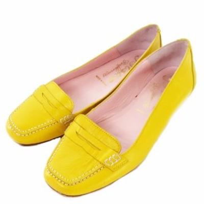 【中古】ビジューバレリーナ Bisue Ballerinas 靴 シューズ バレエ フラット スクエアトゥ レザー 35 黄 イエロー