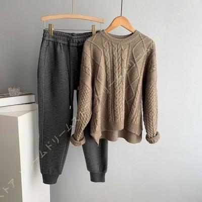 ニットセーター レディース 秋冬 ニットトップス ケーブル編み オフ 着やせ ゆったり 暖かい カジュアル トップス ニット セーター クルーネック