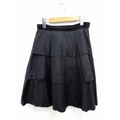 【中古】ジャスグリッティー JUSGLITTY スカート ティアード フレア 膝丈 サイドジップ 2 黒 ブラック /ST58