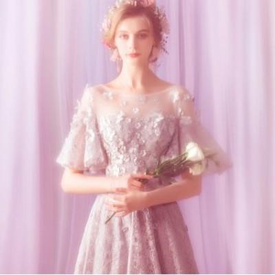 イブニングドレス ウェディングドレス 花柄 ハイウエスト ブライズメイド フリル袖 編み上げ式 結婚式 パーティードレス