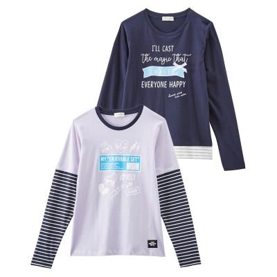 綿100%重ね着風プリントTシャツ2枚組(女の子 子供服・ジュニア服) (Tシャツ・カットソー)Kids' T-shirts