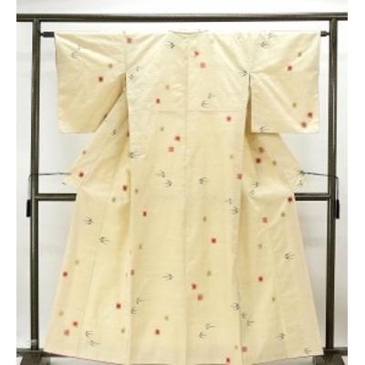 紬 正絹 絣模様 紬 リサイクル 着物  d0166