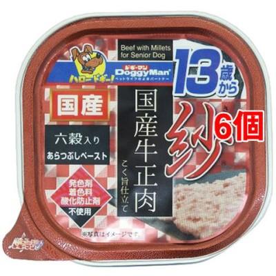 ドギーマン 紗 国産牛正肉 13歳から用 六穀入り (100g*6個セット)