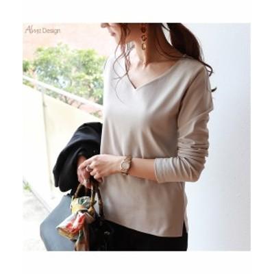 Tシャツ カットソー レディース 透けにくい フロント 2枚仕立 Vネック 長袖 グレージュ/ネイビー/ブラック/ホワイト M/L ニッセン
