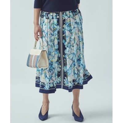 Viaggio Blu/ビアッジョブルー パネルフラワープリントスカート ブルー系その他 M