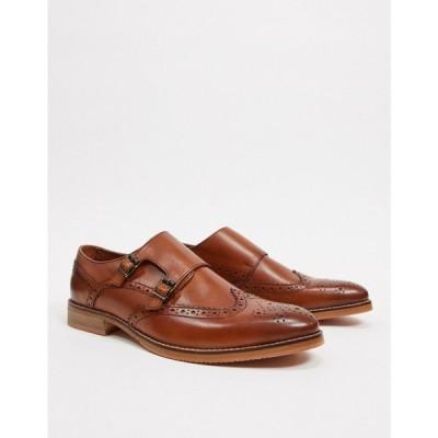 エイソス ASOS DESIGN メンズ 革靴・ビジネスシューズ シューズ・靴 monk shoes in tan leather with natural sole タン