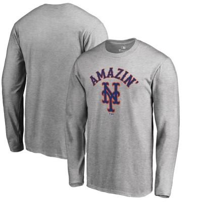 ニューヨーク・メッツ Fanatics Branded Big & Tall Amazin Hometown Collection Long Sleeve T-シャツ - Heathered Gray