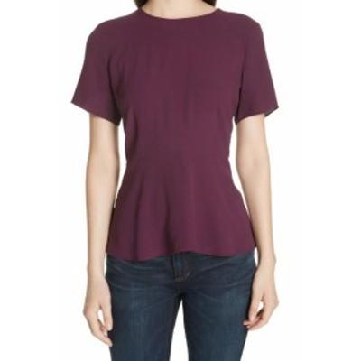 Eileen Fisher アイリーンフィッシャー ファッション トップス Eileen Fisher NEW Purple Womens Size 6P Petite Peplum Blouse Silk