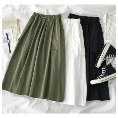 スカート カジュアル 使いやすい Aラインミディスカート 送料無料 無地 お出かけ