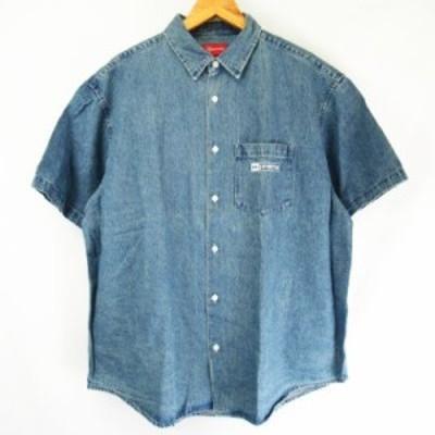【中古】未使用品 SUPREME ★AA☆20SS Invert Denim S/S Shirt Blue Large  デニムシャツ 半袖 インディゴブルーL