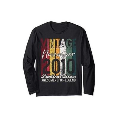 November 2010 10th Birthday Gift 10 Years Old Vintage Retro 長袖Tシャツ