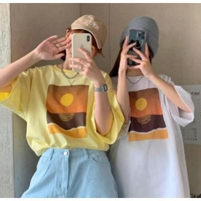 【取り寄せ】レディース トップス Tシャツ 半袖 プリント ビッグシルエット 大人 可愛い シンプル おしゃれ デイリー カジュアル 春夏 ホ