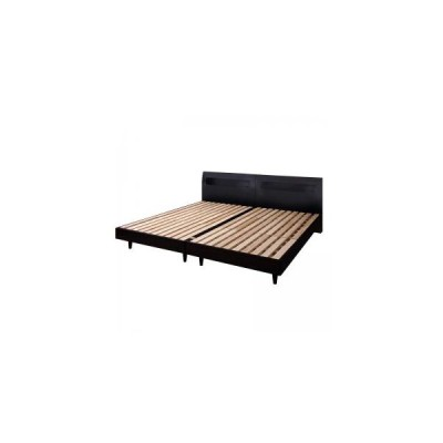 クイーンベッド ベッドフレーム 棚 コンセント付き デザインすのこベッド ウィンダミア ベッドフレームのみ クイーン(SS×2)