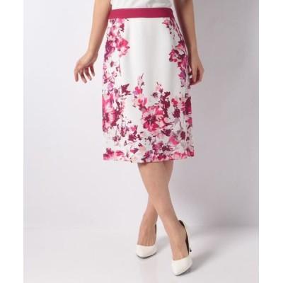 LAPINE BLANCHE/ラピーヌ ブランシュ 花柄パネルプリントセミタイトスカート ピンク 38