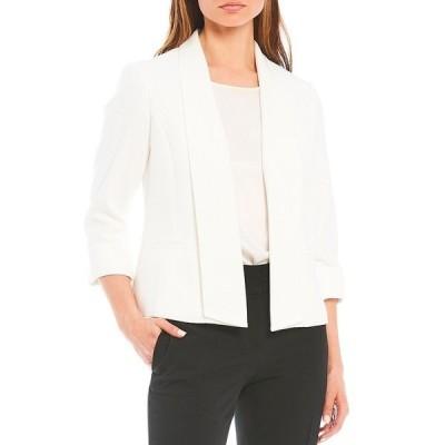 カスパー レディース ジャケット&ブルゾン アウター Textured Pique Shawl Collar Open Front Roll Sleeve Jacket Lily White