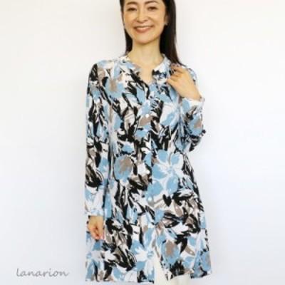 【プレザント ギフト】落ち感が綺麗! トリコット風チュニックシャツ 40代 50代 60代ファッション 70代 80代 ミセス ファッション レデ