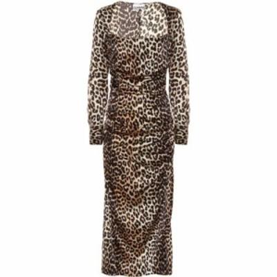 ガニー Ganni レディース ワンピース ミドル丈 ワンピース・ドレス Leopard-print stretch silk-satin midi dress Leopard