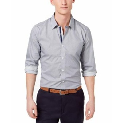 Ryan  ファッション ドレス Ryan Seacrest Mens Blue Size XL Geo Print Long Sleeve Dress Shirt