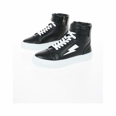NEIL BARRETT/ニール バレット Black メンズ Leather THUNDER BASKET Sneakers dk