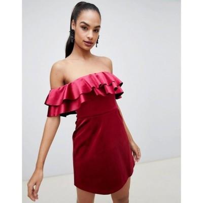 エイソス レディース ワンピース トップス ASOS DESIGN bonded velvet ruffle shift mini dress