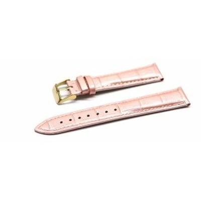 腕時計 ベルト 16mm 17mm 18mm 19mm 20mm 21mm 22mm 24mm レザー クロコダイル型押し 牛 革 ピンク ピンバックル イエロー ゴールド l001