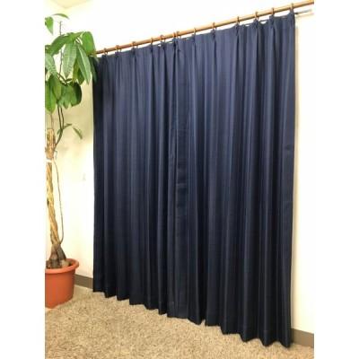 遮光性 形状記憶 ウォシャブルカーテン 幅100x丈135cm 2枚入り トロワ ネイビー