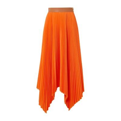 ロエベ LOEWE ロングスカート オレンジ 38 ポリエステル 65% / コットン 35% / 革 ロングスカート