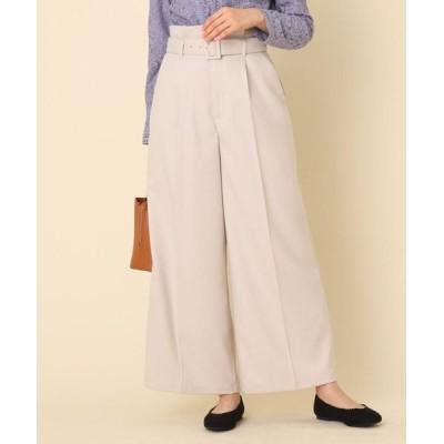 Couture Brooch/クチュールブローチ 【手洗い可】サキソニーベルテッドワイドパンツ ライトベージュ(051) 38(M)