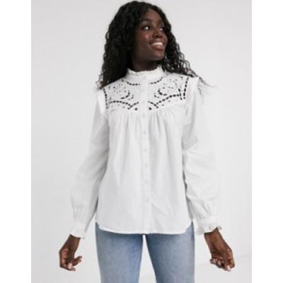 エイソス レディース シャツ トップス ASOS DESIGN long sleeve cotton shirt with cut out detail Ivory