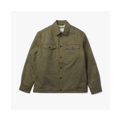 ラコステ シャツ トップス メンズ Men's Sherpa Lined Cotton Overshirt Evergreen