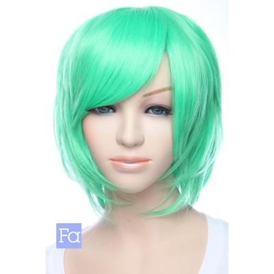 ショートレイヤー 「ベーシックグリーン」「ウィッグネット付」 緑 グリーン 緑色 コスプレウィッグ ショートウィッグ 安い 耐熱180℃(la-t1857)