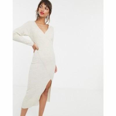 エイソス ASOS DESIGN レディース ワンピース ワンピース・ドレス knit rib midi dress with wrap detail Stone