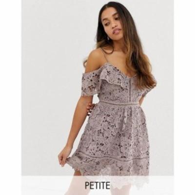 ニュールック New Look Petite レディース ワンピース ミニ丈 ワンピース・ドレス lace cold shoulder mini dress パープル