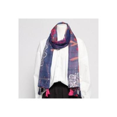 デシグアル Desigual 長方形スカーフ AUTUMM MOOD (ブルー)