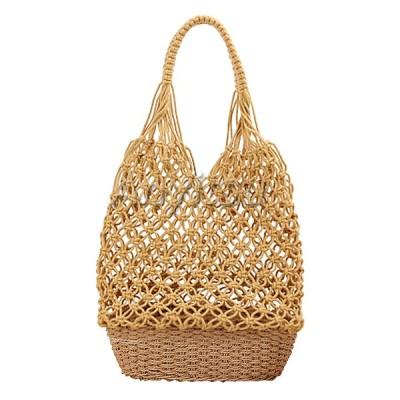 女性の手作りストローショルダーバッグ夏のビーチニット魚網財布黄色