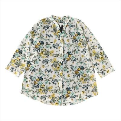 レディース ウィメンズ カジュアル 七分袖 ツインセット 白×ブルー、イエロー系花柄