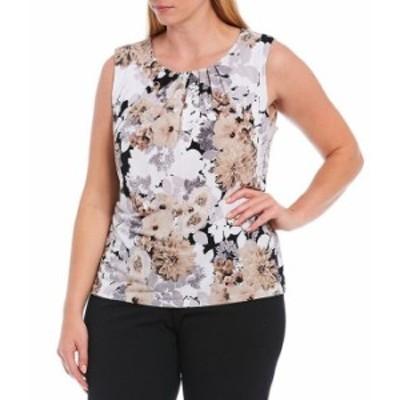 カルバンクライン レディース タンクトップ トップス Plus Size Mixed Floral Print Matte Jersey Pleat Neck Sleeveless Top Tin Multi