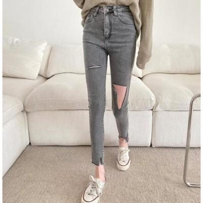 GIRLS RULE レディース ジーンズ 9637 Damage Cut Skinny Jeans
