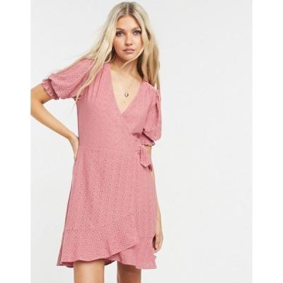 オアシス レディース ワンピース トップス Oasis eyelet wrap skater dress in dusky pink Dusky pink