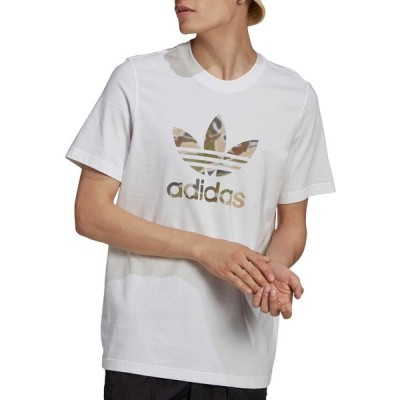アディダス Tシャツ トップス メンズ adidas Men's Camo Trefoil Tee White/WildPine/Camo