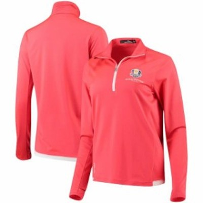RLX アールエルエックス スポーツ用品  RLX Womens Red 2018 Ryder Cup Peached Back Jersey Knit Quarter-Zip Pullover