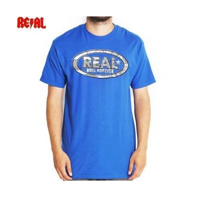 REAL リアル スケートボード Tシャツ SHATTERED OVER TEE ロイヤル ブルー NO52