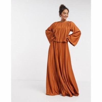 エイソス ASOS DESIGN レディース ワンピース マキシ丈 ワンピース・ドレス double layer cape pleated maxi dress in orange オレンジ