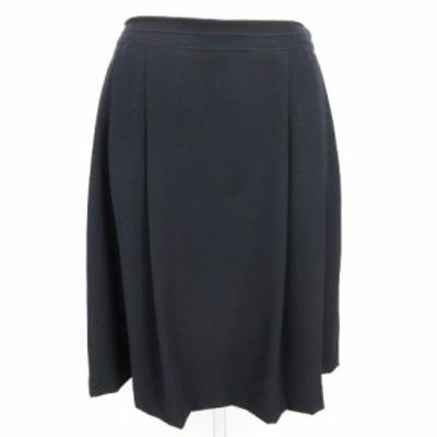 【中古】アリスバーリー Aylesbury フレア スカート ひざ丈 ツータック 無地 紺 ネイビー系 9 レディース