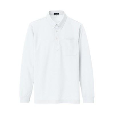 アイトス(AITOZ) 大きいサイズ(3L) 吸汗速乾(クールコンフォート)長袖ボタンダウンポロシャツ(男女兼用) 001/ホワイト AZ-10598 ワークウェア 作業着