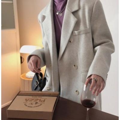 韓国 ファッション レディース チェスターコート ロングコート アウター ゆったり 無地 大人可愛い きれいめ カジュアル 上品 シンプル