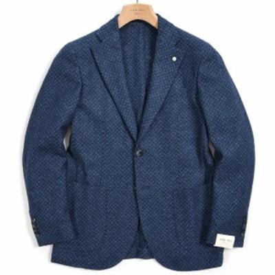 L.B.M. 1911 エルビーエム 1911 テーラード ジャケット 2Bシングル ノッチドラペル メンズ 秋冬 ウール シルク カシミヤ 織柄 ブルー イ